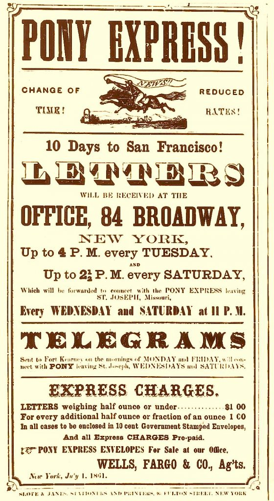 Original Pony Express Poster Advertising Fast Mail In 1860
